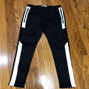 Zara cargo side stripe joggers
